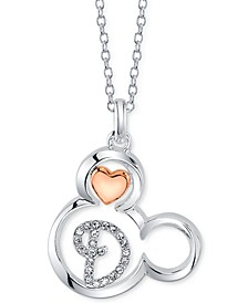 """Mickey Mouse Initial Pendant Necklace in Two-Tone Silver-Plate, 16""""+ 2"""" extender"""