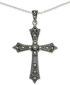 "Marcasite Cross 18"" Pendant Necklace in Sterling Silver"