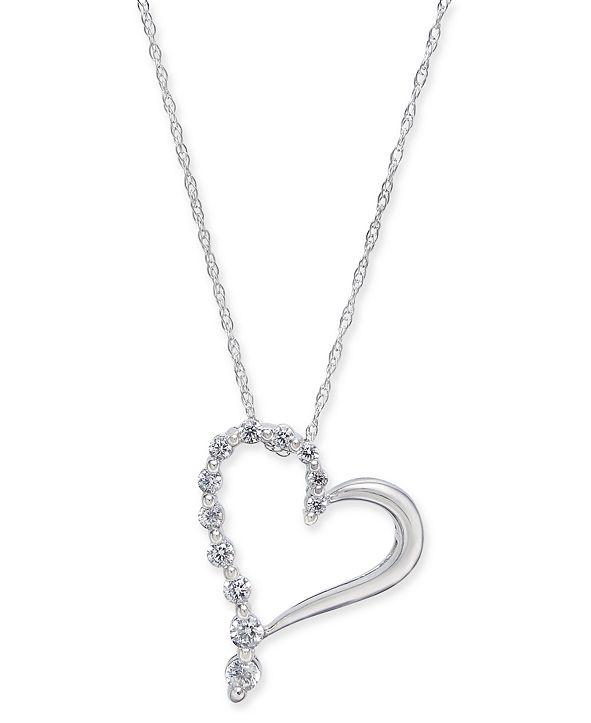 "Macy's Diamond Open Heart 18"" Pendant Necklace (1/4 ct. t.w.) in 14k White Gold"