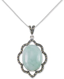 "Jade (15 x 20 x 6mm) & Marcasite Flower 18"" Pendant Necklace in Sterling Silver"