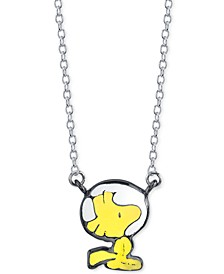"Astronaut Woodstock Pendant Necklace in Fine Silver-Plate, 16"" + 2"" extender"