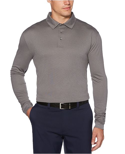 PGA TOUR Men's Jacquard Long-Sleeve Polo