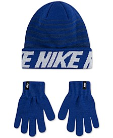 Big Boys 2-Pc. Repeat Stripe Beanie & Gloves Set