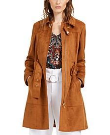 INC Petite Belted Faux Suede Trench Coat, Created For Macy's