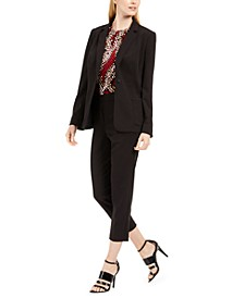 Piped-Trim Jacket, Pleated-Neck Top & Piped-Trim Cropped Pants