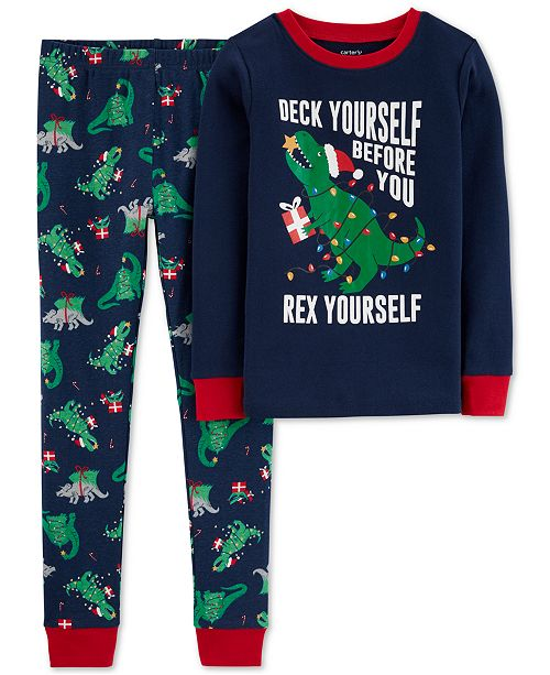 Carter's Little & Big Boys 2-Pc. Cotton Holiday Dino Pajamas Set