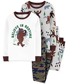 Little & Big Boys 4-Pc. Cotton Snug-Fit Big Foot Pajamas Set