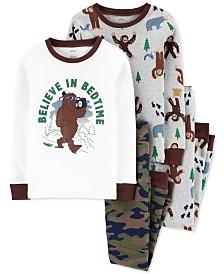 Carter's Little & Big Boys 4-Pc. Cotton Snug-Fit Big Foot Pajamas Set