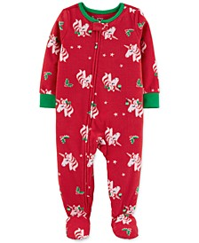 Toddler Girls 1-Pc. Holiday Unicorn Fleece Footie Pajamas