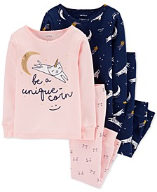 Toddler Girls 4-Pc. Cotton Snug-Fit Unique-Corn Pajamas Set