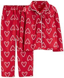Little & Big Girls 2-Pc. Candy Cane Heart-Print Fleece Pajama Set