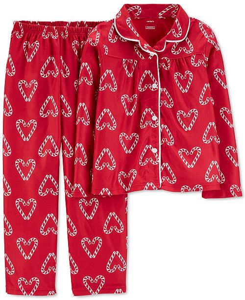 Carter's Little & Big Girls 2-Pc. Candy Cane Heart-Print Fleece Pajama Set