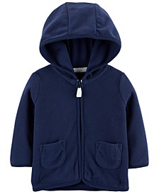 Baby Boys Navy Blue Hooded Full-Zip Fleece Cardigan