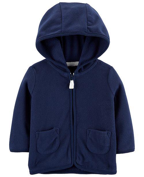 Carter's Baby Boys Navy Blue Hooded Full-Zip Fleece Cardigan