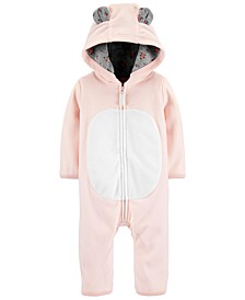 Baby Girls Hooded Fleece Bear Coverall