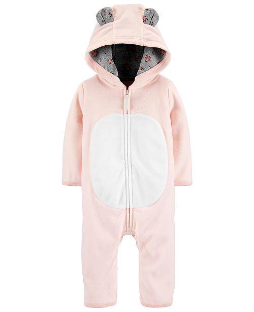 Carter's Baby Girls Hooded Fleece Bear Coverall
