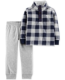 Baby Boys 2-Pc. Plaid Fleece Sweatshirt & Joggers Set