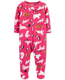 Baby Girls Footed Fleece Animal-Print Coverall