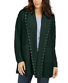 Style & Co Petite Hooded Studded Cardigan, Created For Macy's