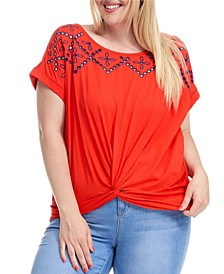 Trendy Plus Size Knot Front Embroidered T-Shirt