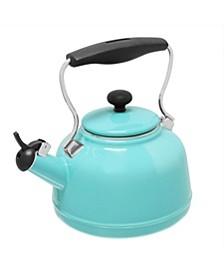 1.7Qt. Enamel-On-Steel Vintage Teakettle - Aqua