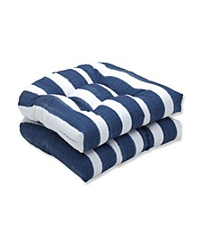"""Nico Stripe 19"""" x 19"""" Tufted Outdoor Chair Pad Seat Cushion 2-Pack"""