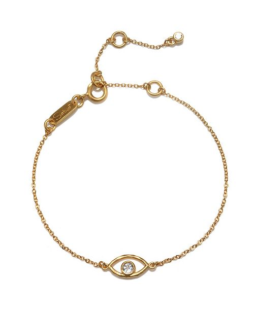 Satya Jewelry White Topaz Eye Adjustable Gold Bracelet