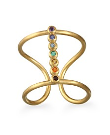 Satya Jewelry Genuine Stone 7-Chakra Adjustable Gold Ring