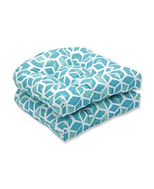 """Celtic Geometric Print 19"""" x 19"""" Tufted Outdoor Chair Pad Seat Cushion 2-Pack"""