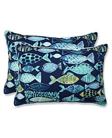 Hooked Lagoon Over-Sized Rectangular Throw Pillow, Set of 2