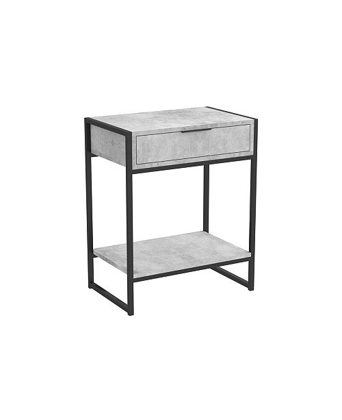S&CO Safdie & Co. Accent Metal Top Table with drawer