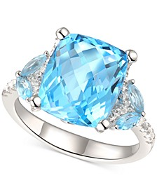 Blue Topaz (5 ct. t.w.) & White Topaz (1/4 ct. t.w.) Ring in Sterling Silver