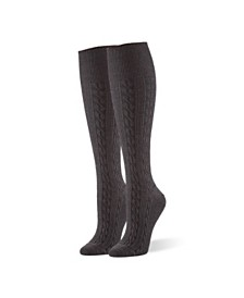HUE Women's Graduated Compression Cable Knee High Socks