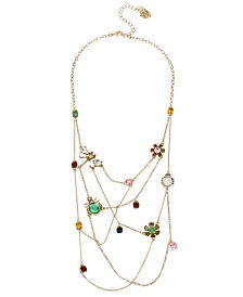 Betsey Johnson Bug & Flower Delicate Swag Necklace