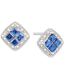 Sapphire (5/8 ct. t.w.) & Diamond (1/20 ct. t.w.) Square Stud Earrings in Sterling Silver