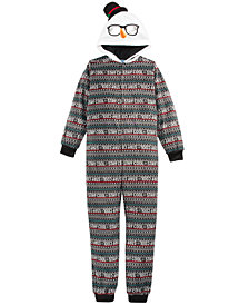 Max & Olivia Big Boys 1-Pc. Hooded Cool-Print Snowman Pajamas, Created For Macy's