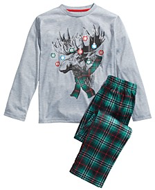 Big Boys 2-Pc. Moose Lights Pajama Set