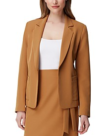 Kiss-Front Notched-Lapel Blazer