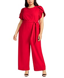 Plus Size Tulip-Sleeve Belted Jumpsuit