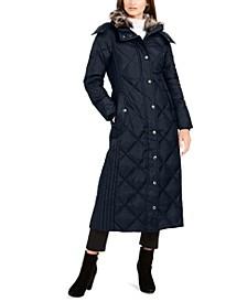 Maxi Puffer Coat With Faux-Fur Trim