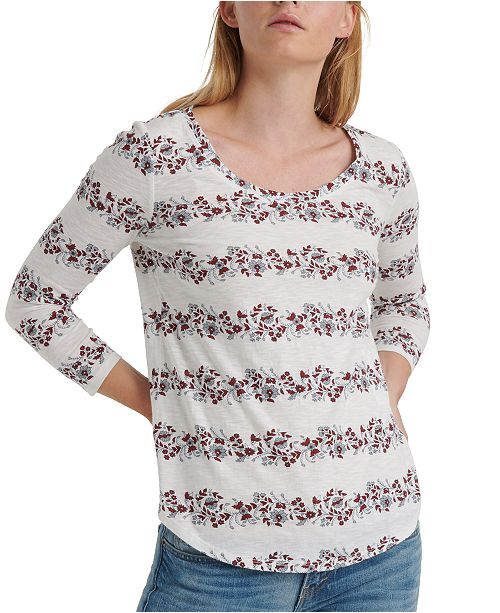 Lucky Brand Floral Stripe Cotton T-Shirt