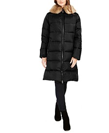 Faux-Fur Collar Down Puffer Coat
