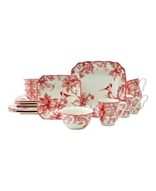 222 Fifth Christmas Lane Red 16 Piece Dinnerware Set