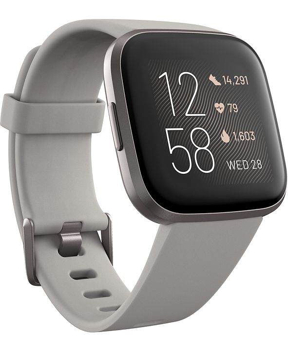 Fitbit Versa 2 Mist Gray Elastomer Strap Touchscreen Smart Watch 39mm