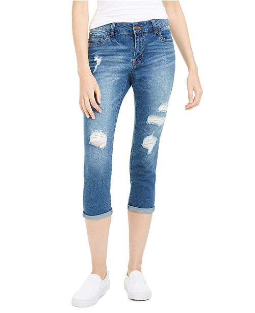 Dollhouse Juniors' Distressed Cropped Jeans