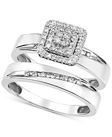 Diamond Square Cluster Bridal Set (1/5 ct. t.w.) in 14k White Gold