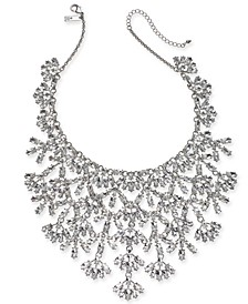 "INC Silver-Tone Marquise-Crystal Statement Necklace, 16"" + 3"" extender, Created For Macy's"
