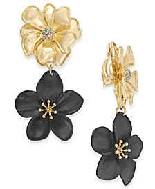 INC Two-Tone Pavé Flower Clip-On Double Drop Earrings, Created For Macy's