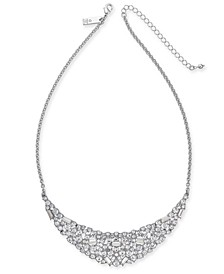 "INC Silver-Tone Scattered Crystal Statement Necklace, 17"" + 3"" extender, Created For Macy's"