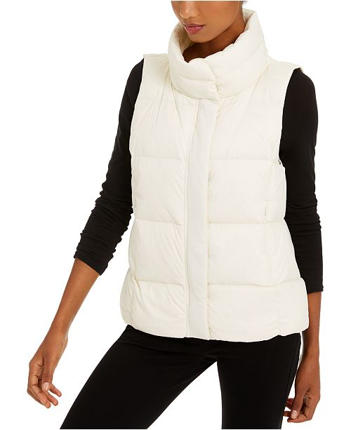 Eileen Fisher Funnel-Neck Quilted Vest, Regular & Petite